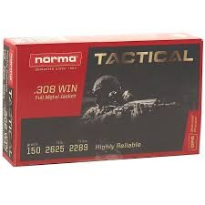 20 Round Box. Norma Tactical .308 Win. 150grnFMJ