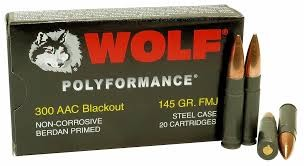 20 Round Box. Wolf Polyformance 300 AAC Blackout 145grn FMJ